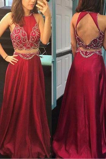 Elegant Two Piece Long Prom Dresses, Evening Dresses With Beaded