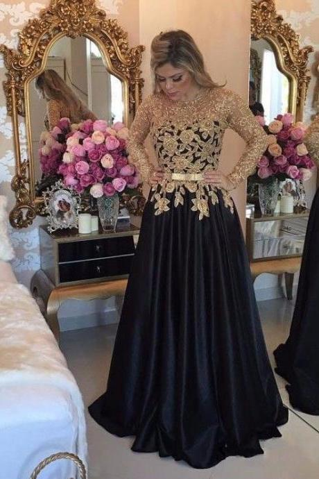 Elegant Long Sleeves Black Prom Dresses, Long Evening Dresses With Gold Appliques