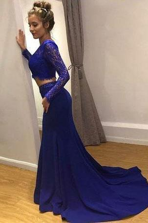 sexy two piece royal blue prom dresses,party dress with long sleeves