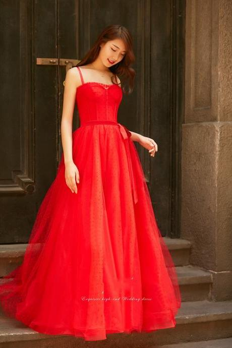 red long prom dress,spaghetti straps party dress,tulle evening dress
