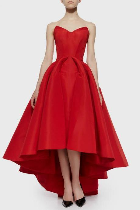 high low red homecoming dress,prom dress,evening dress