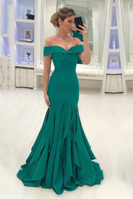 Mermaid long prom dress,off shoulder evening dress,party dress