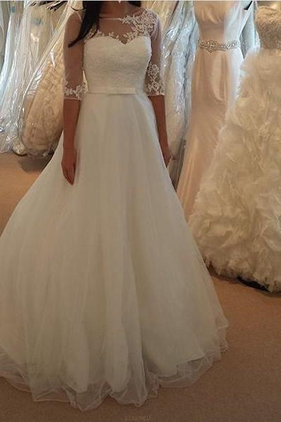 Modest Long Sleeves Lace Wedding Dress,Simple V-back Tulle Bridal Dress