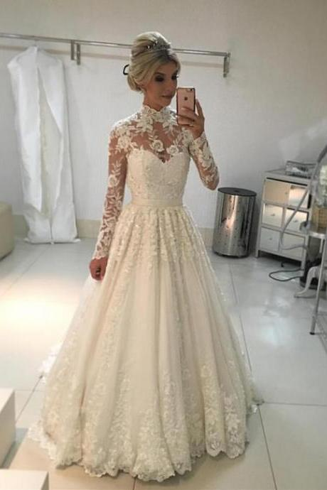 modest long sleeves lace wedding dress,lace wedding dress