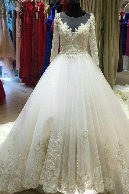 long-sleeves lace wedding dress,elegant bride dress