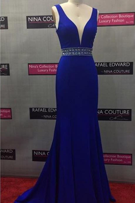 Mermaid Prom Dress,Royal Blue Evening Dress,V-neckline Graduation Dress,Royal Blue Prom Gown