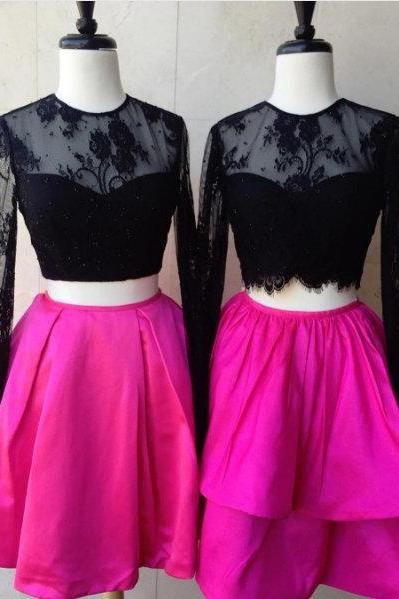 Two Piece Homecoming Dress,Black Lace Long Sleeves Homecoming Gown,Short Length Graduation Dress