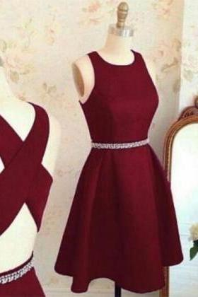Knee Length Burgundy Homecoming Dress,Open Back Sexy Burgundy Party Dress,Burgundy Prom Dress,Short Burgundy Formal Dress,Knee Length Burgundy Graduation Dress