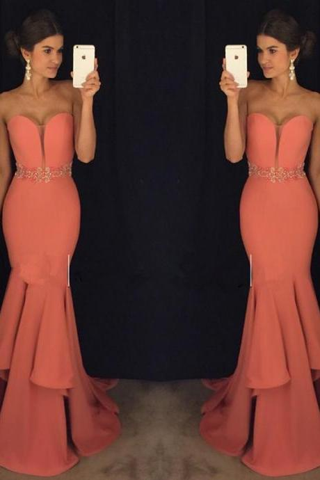 Glamorous Mermaid Prom Dresses with Ruffles , Sweetheart Neck Beading Evening Gowns,Strapless Prom Dresses