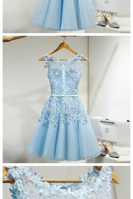 Tulle party Dress,Appliques evening Dresses,Short blue Homecoming Dress