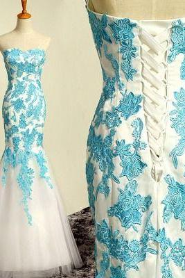 Elegant Mermaid Appliques Lace Evening Dress,backless Evening Dresses,strapless prom Dress