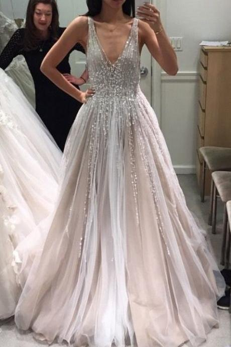 Tulle Deep V Neck Long Wedding Dresses, Bridal Gown with Sleeveless