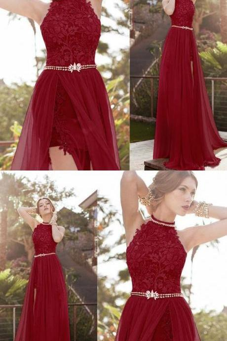 Burgundy Halter Lace Long Evening Dress, Formal Gown Prom Dress ,Party Dress With Sexy Slit