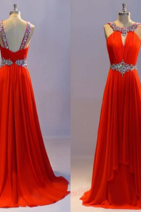 New Arrival Red Long Evening Dresses,Scoop Beaded Evening Gown,A-line Party Dress