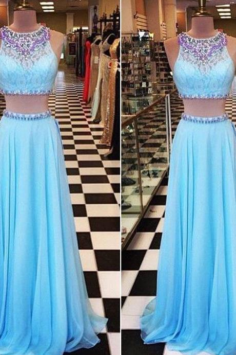 Light Blue Prom Dress,Two Piece Prom Dresses,Chiffon Prom Dress,Rhinestones Prom Dresses,Beaded Evening Dress,Party Dress