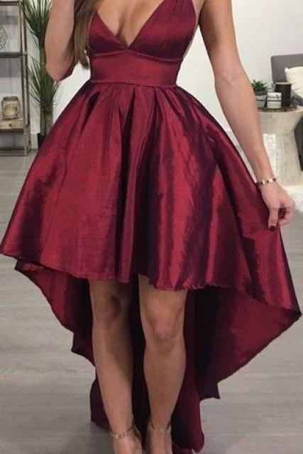 burgundy prom dress, straps high low burgundy prom dress, homecoming dress, party dress