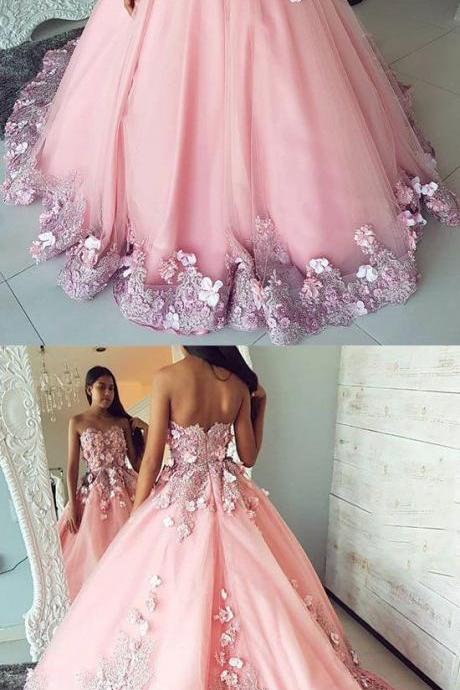 Pink tulle lace applique long prom dress, pink evening dress with flower