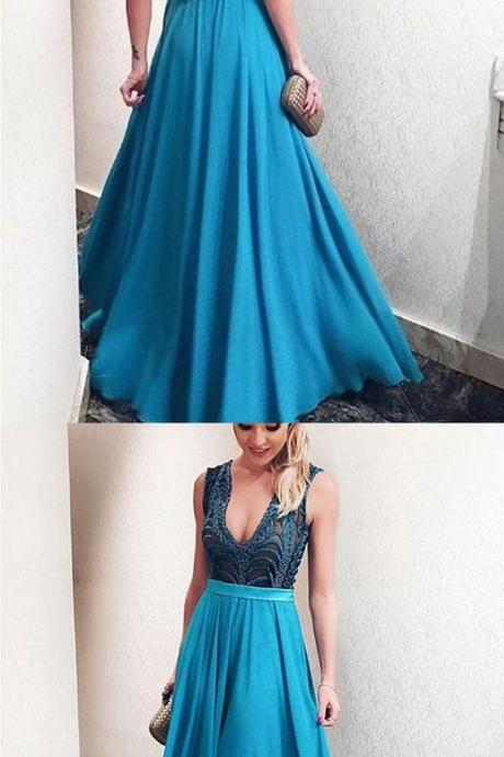 Deep V-Neck Blue Prom Dress,Party Dress With Appliques Beading,Backless Formal Dresses