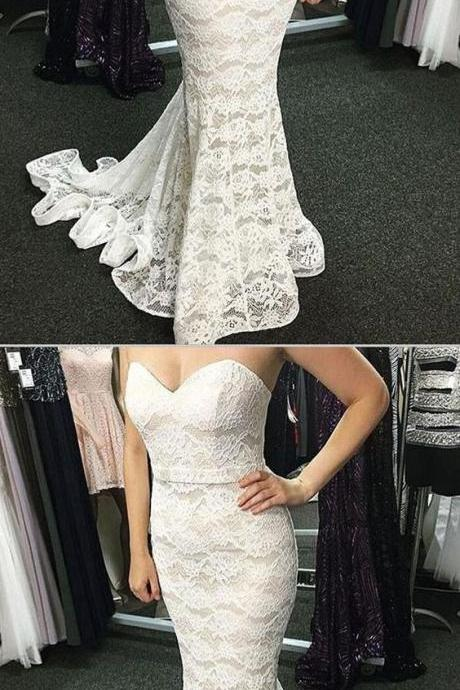 Custom Made Glorious Evening Dresses Lace, Mermaid Prom Dresses, 2019 Evening Dresses, White Lace Prom Dresses