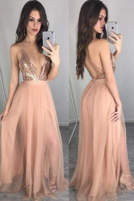 Long Sexy prom dress V-neckline party dress Champagne Open Back Prom Dress spaghetti prom dress
