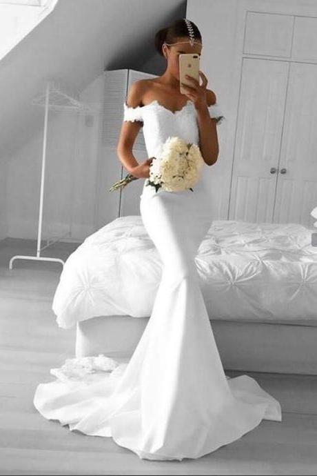 Real Elegant bridal dress Mermaid White wedding dress Off Shoulder lace Prom Dresses,,Wedding Dresses,Mermaid White Evening Dresses