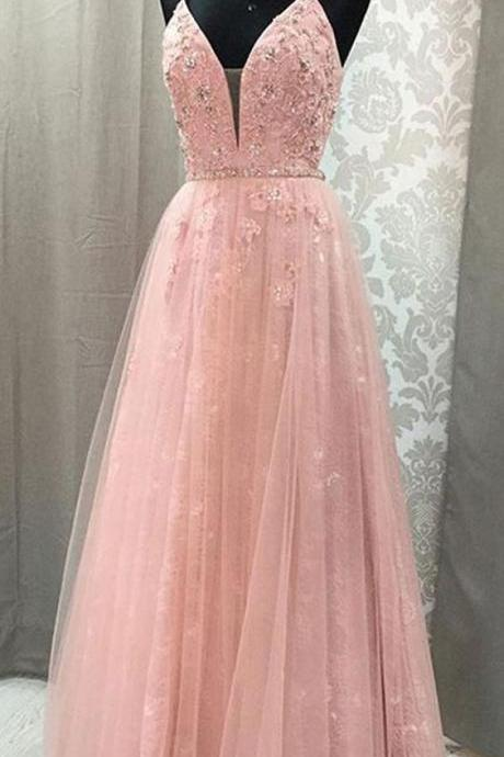 A-line evening dress V Neck party dress Spaghetti Straps prom dress Open Back ball gowns Blush Lace Long Prom Dresses