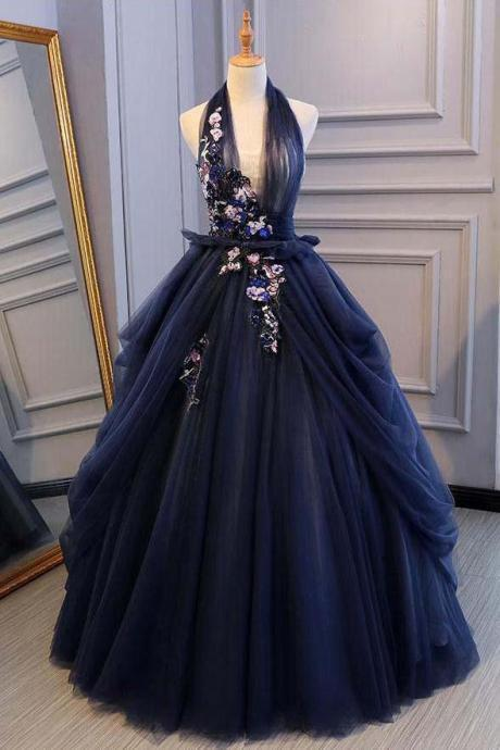 Ball Gown Blue Tulle Lace Long Prom Dresses Deep V Neck Backless Evening Dresses