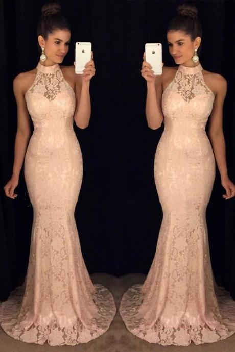 Pink Lace evening dress High Neck formal dress Mermaid Prom Dress