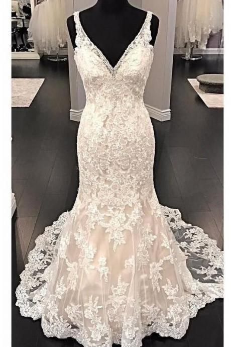 Fit&Flare V-neck Wedding Dress Lace Beaded Backless a-line wedding dress