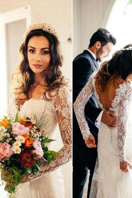 Sexy Mermaid Long Sleeves V Neck White Lace Backless Wedding Dress