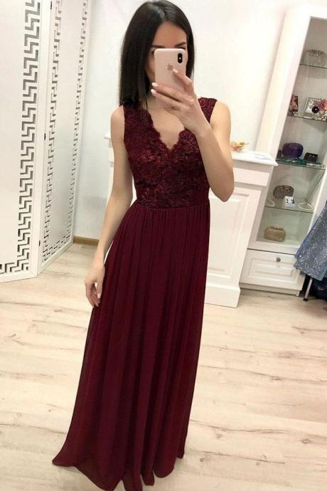 Burgundy Chiffon Lace Appliques Prom Dresses, Long Cheap Prom Gown