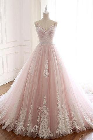 Pink Tulle Prom Dress with Lace Appliques, A Line Formal Evening Party Dresses