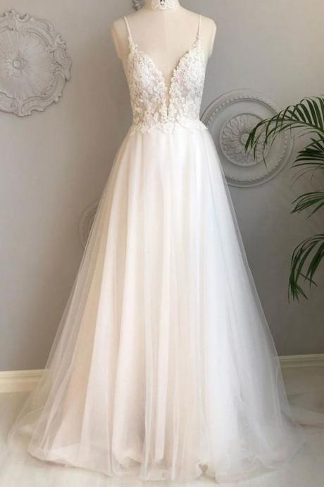White v neck tulle lace long prom dress, white tulle evening dress spaghetti party dress sleeveless wedding dress