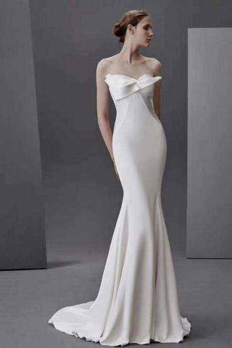 White wedding dress sexy strapless wedding dress new simple slim bride wedding dress satin wedding dress