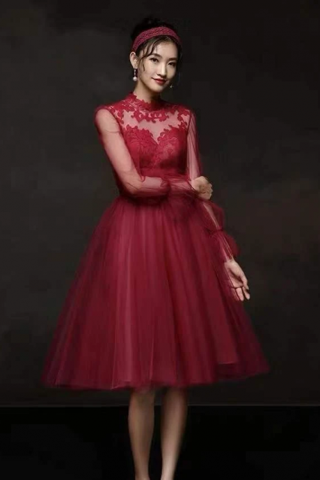 Red party dress long sleeve evening dress high neck prom dress tulle formal dress lace applique homecoming dress