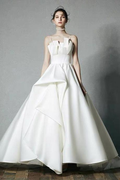 White wedding dress tuxedo French light luxury satin wedding dress spaghetti wedding dress backless wedding dress