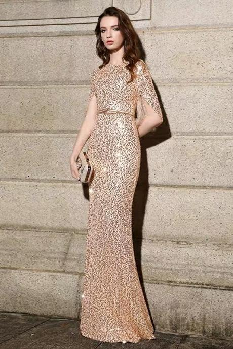 Apricot party dress mermaid prom dress o-neck formal dress sexy evening dress long tuxedo dress sequined gown