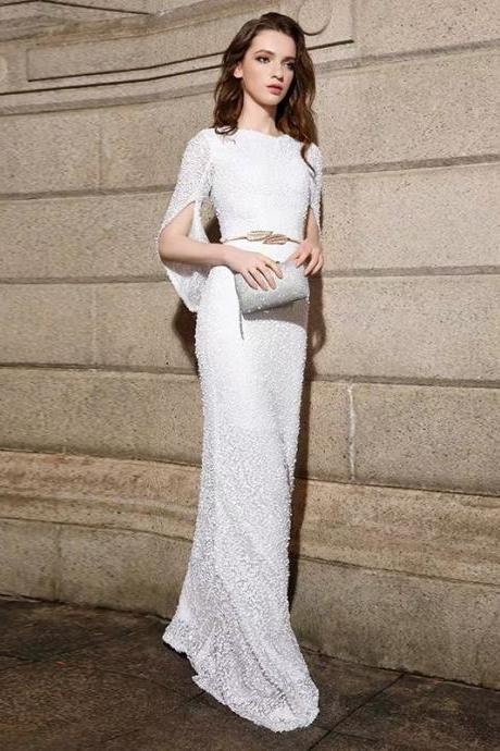White prom dress o-neck evening dress mermaid party dress sexy formal dress long tuxedo dress sequined gown