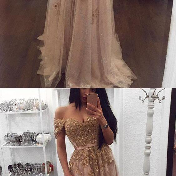 Gold Lace Beaded Sweetheart Tulle Prom Dresses Off-the-shoulder Evening Gowns 2018 Elegant