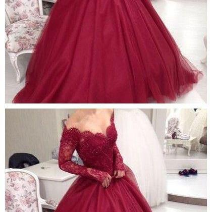 Red Prom Dresses,Cheap long prom dresses,Prom Dress with long sleeves,Sweetheart Prom Dress,Custom Made, Party Gown