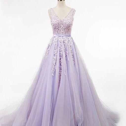 Light purple v neck tulle long prom dress,Custom Made,Party Gown,Evening Dress