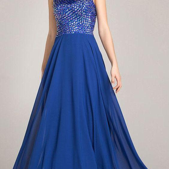 Long Cheap Blue Beaded Chiffon Evening Dresses,evening dresses,formal dresses,evening gowns,prom gowns,cheap prom dresses,blue ,Custom Made,Party Gown,Cheap Evening dress,Custom Made,Party Gown