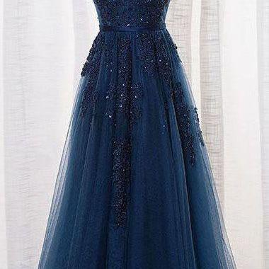 party dress with applique,cocktail dress, formal dress, tulle evening dresses