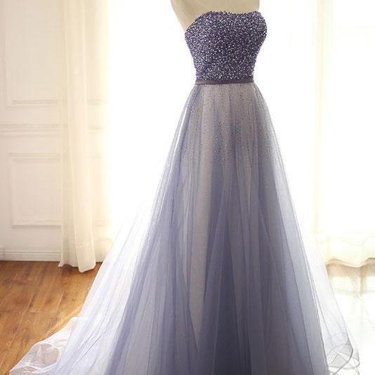 Stylish A-Line Sweetheart Prom Dress,Tulle Long Evening Dresses with Beading,Evening Dress,Custom Made