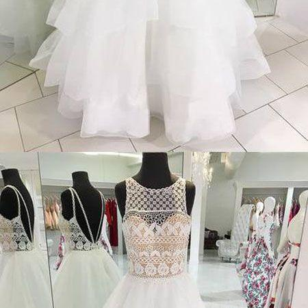Stylish A-Line Jewel Sleeveless Backless Party Dress, White Tulle Long Prom Dress with Lace,Evening Dress,Custom Made