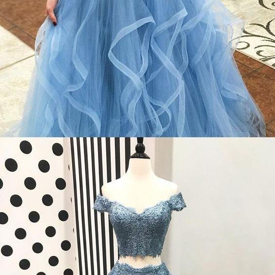 Off the Shoulder Two Piece Prom Dresses,Blue Tulle with Lace Appliqued Long Prom Party Dresses,Evening Dress,Custom Made