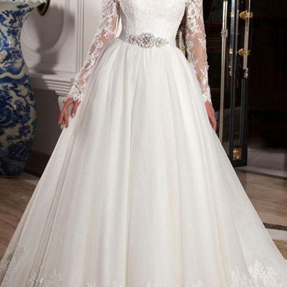 Elegant Tulle Off-the-Shoulder Neckline Ball Gown ,Wedding Dresses with Lace Appliques