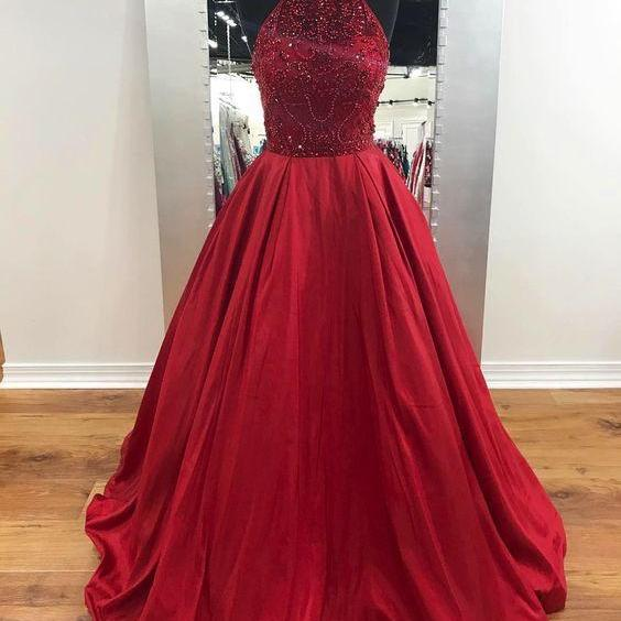 Elegant Red Halter Long Beaded Prom Dresses, Evening Dress With Pockets