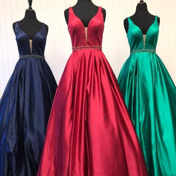 Elegant Floor Length Deep V Neck Prom Dresses,Party Dress With Beaded