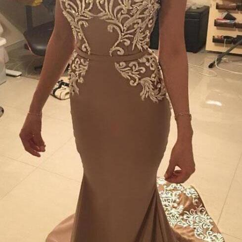 Off the Shoulder Mermaid Prom Dresses ,Evening Gown With Appliques